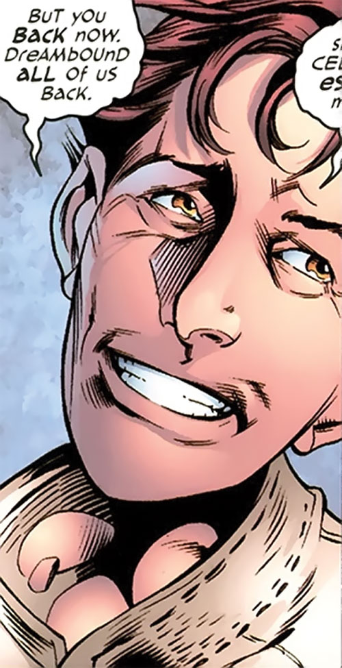 T.V.M. the Trans-Volitional Man of the Dreambound (DC Comics trinity) smiling face closeup