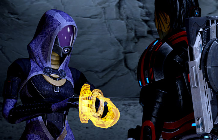 Tali vas Normandy using her omni tool, and Commander Shepard