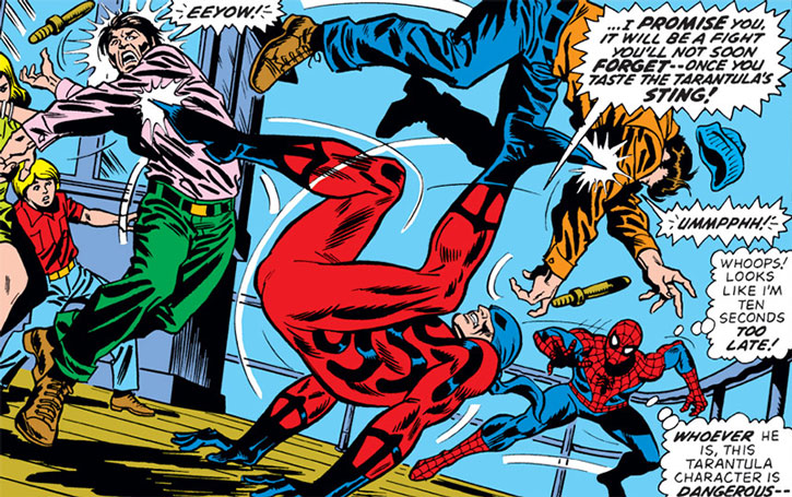 Tarantula (Anton Rodriquez) kills sailors as Spider-Man comes in