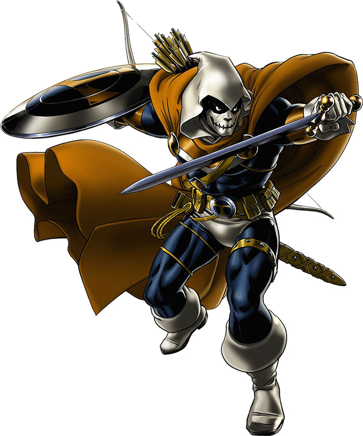 Taskmaster (Marvel Comics) posing on a white background
