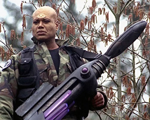Teal'C (Christopher Judge in Stargate) with a Jaffa cannon