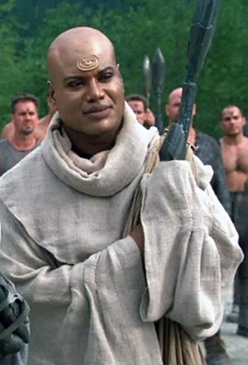 Teal'C (Christopher Judge in Stargate) in a white Jaffa robe