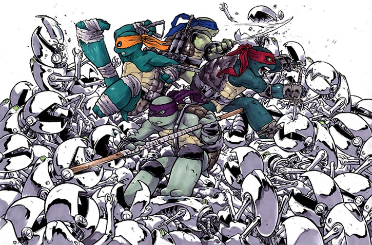 The TMNT fight a horde of mouser robots