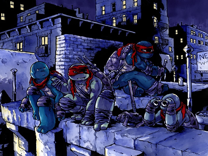 The TMNT on a rooftop at night