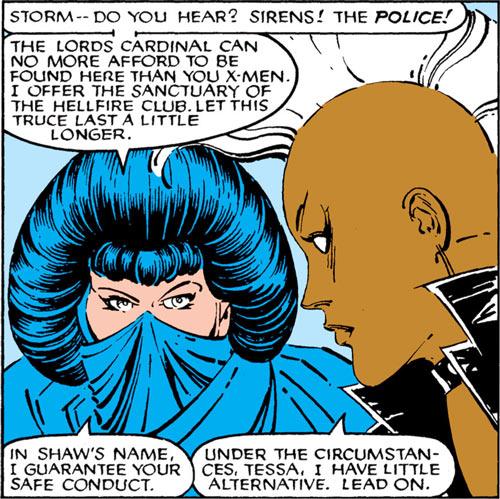 Tessa of the Hellfire Club (Marvel Comics X-Men) and punk Storm
