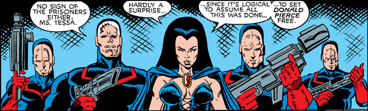 Tessa of the Hellfire Club (Marvel Comics X-Men) with guards