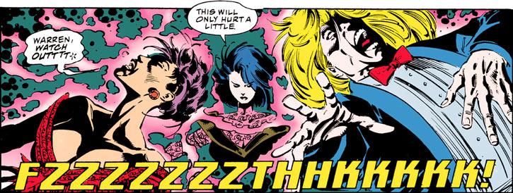 Tessa of the Hellfire Club (Marvel Comics X-Men) zapping Psylocke and Archangel