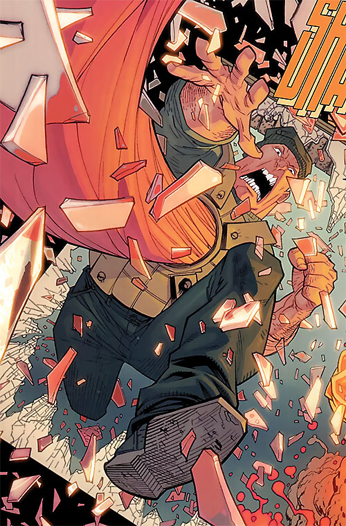 Tether Tyrant (Invincible Comics) crashing through a window