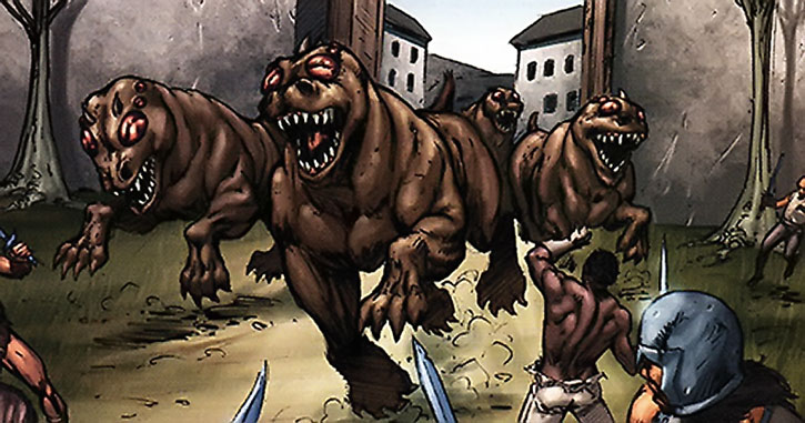 Giant mutant hounds charge out from a dreary city