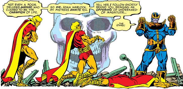 Thanos kills Adam Warlock