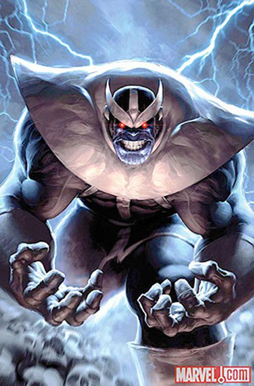 Thanos (Marvel Comics) backlit by lightning