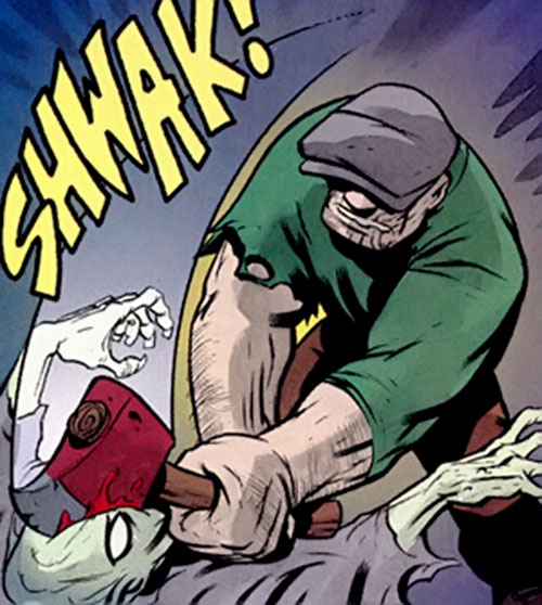 The Goon (Eric Powell Comics) hits a zombie with a fire axe