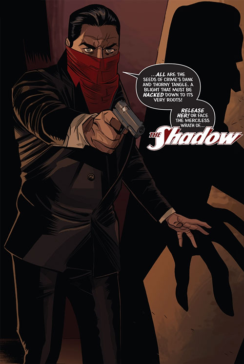The Shadow (Matt Wagner's Year One) (Dynamite Comics) pointing a pistol