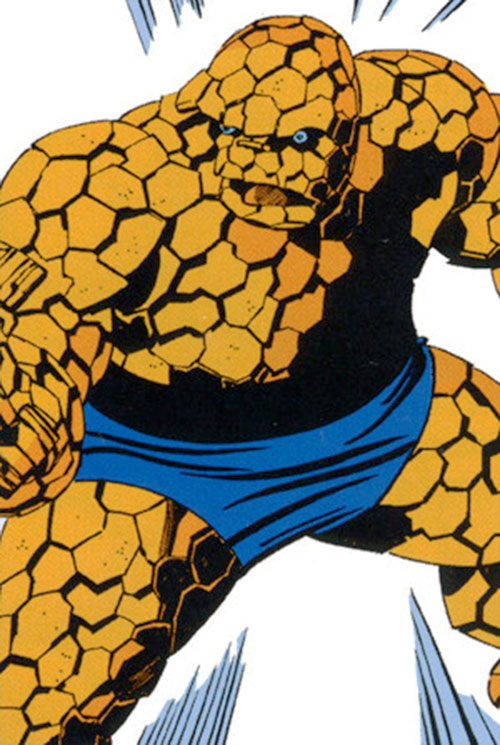 Classic Thing of the Fantastic Four (Marvel Comics) reacting