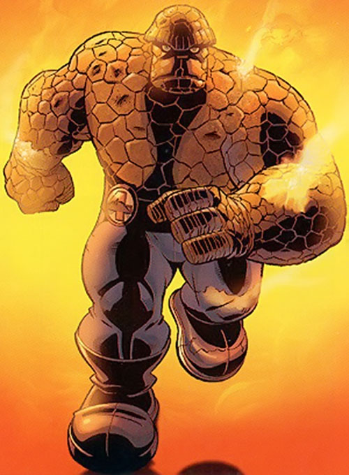 Thing of the Fantastic Four (Marvel Comics) running through a fire, by Wieringo