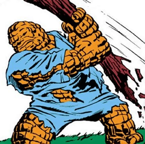 Early Thing of the Fantastic Four (Marvel Comics) ripping off a tree