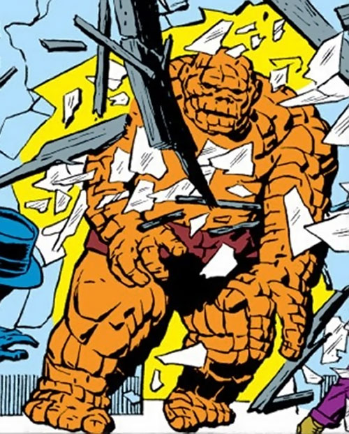 Early Thing of the Fantastic Four (Marvel Comics) crashing through a door