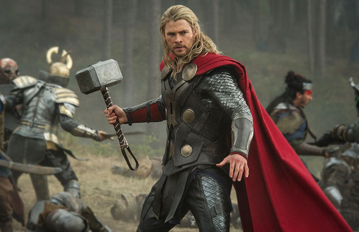 Thor (Chris Hemsworth) in the middle of a battle