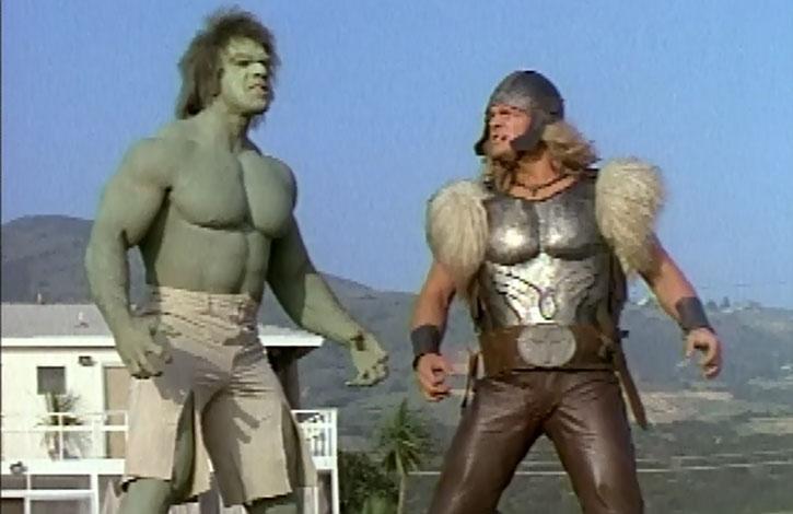 Thor (Eric Kramer) and the incredible Hulk (Lou Ferrigno)
