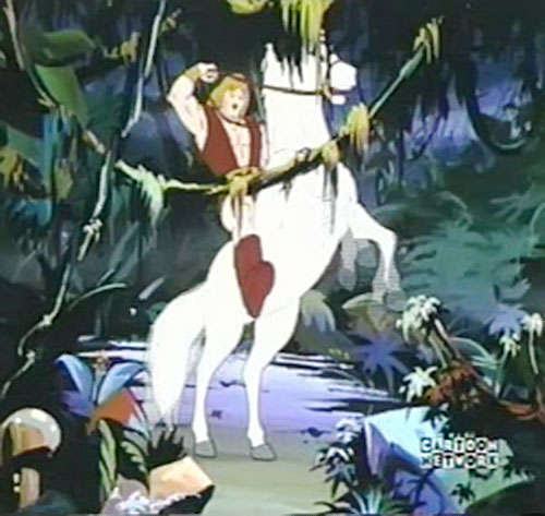 Thundarr the Barbarian on his white horse in a swamp