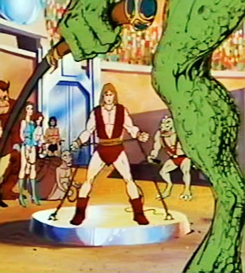 Thundarr the Barbarian chained in an arena