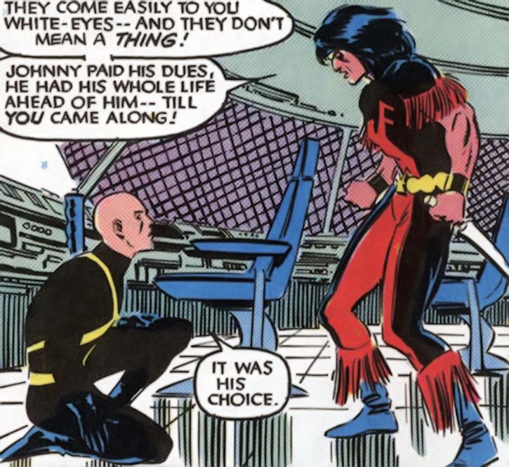 Thunderbird (James Proudstar) confronting Professor Xavier