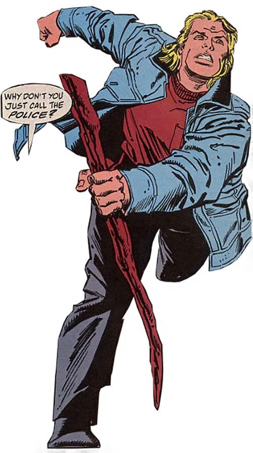 Thunderstrike of the Avengers (Marvel Comics) human form long hair walking stick