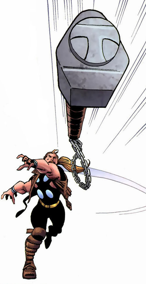Thunderstrike of the Avengers (Marvel Comics) throwing his mace