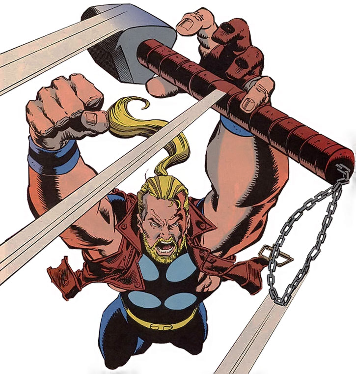 Thunderstrike (Eric Masterson) catching his mace in mid-air, over a white background