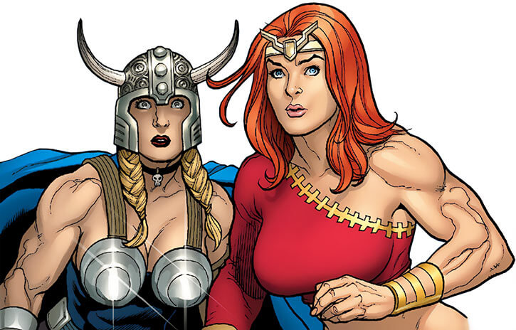 Thundra and Valkyrie over a white background