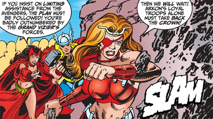 Thundra, Thor and the Scarlet Witch on Polemachus