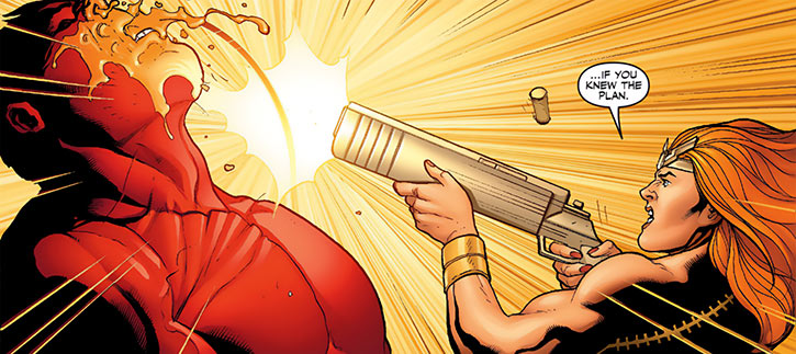 Thundra shoots the Red Hulk in the face