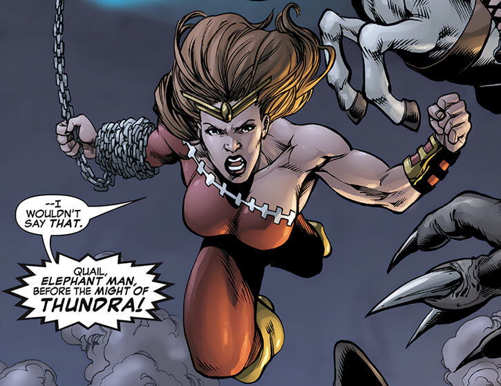 Thundra leaping in with her chain