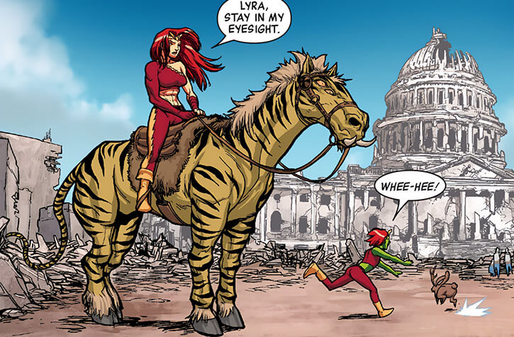 Thundra on a mutant horse in the ruins of the White House