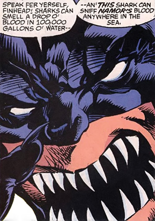 Tiger Shark (Namor enemy) (Marvel Comics) (Modern) face closeup with pointed teeth