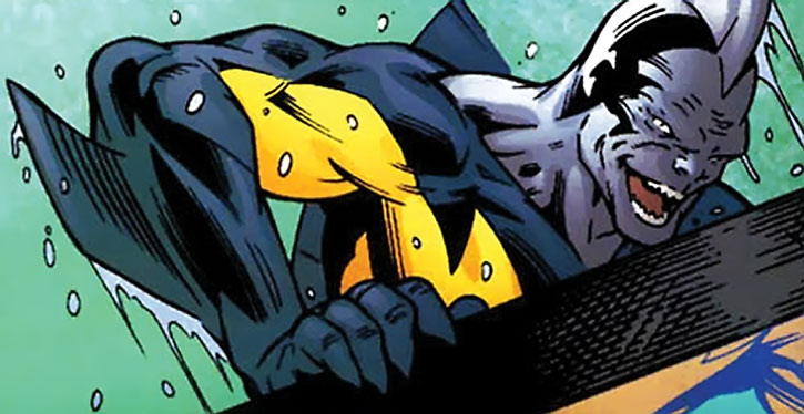 Tiger Shark (Todd Arliss) with the yellow and dark blue costume