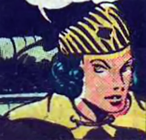Tiger Woman (Madam Fatal enemy) (Quality Comics) in a car