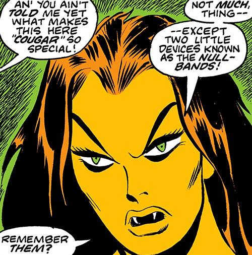 Tigra (Marvel Comics) (Profile #3) face closeup with fangs
