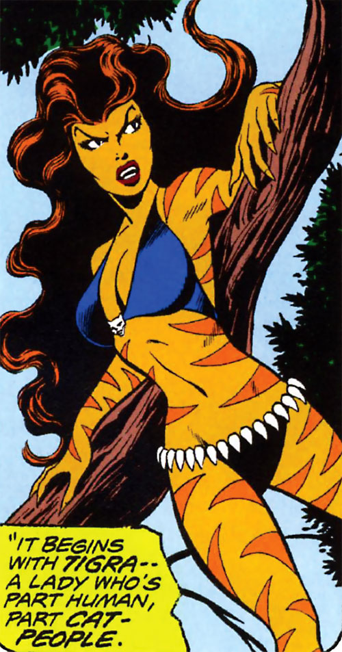 Tigra (Marvel Comics) (Profile #3) resting against a branch
