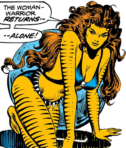 Tigra (Marvel Comics) (Profile #3) emerges from a tunnel