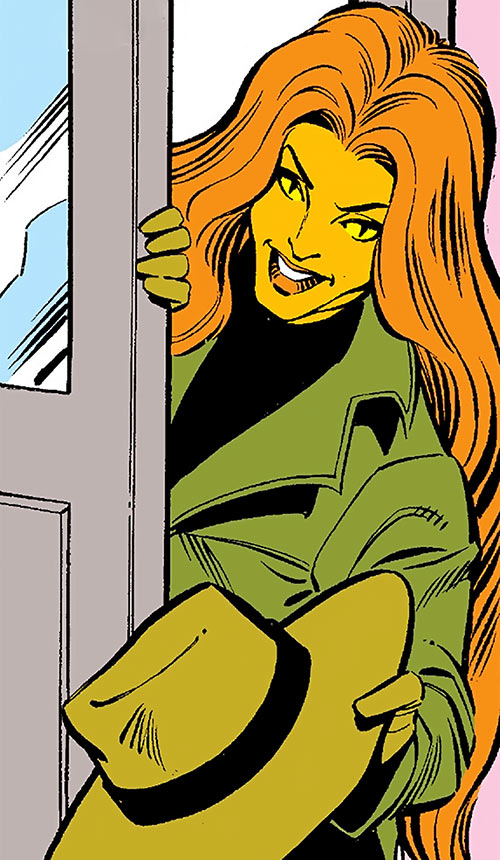 Tigra of the Avengers West Coast (Marvel Comics) with a hat and trench coat