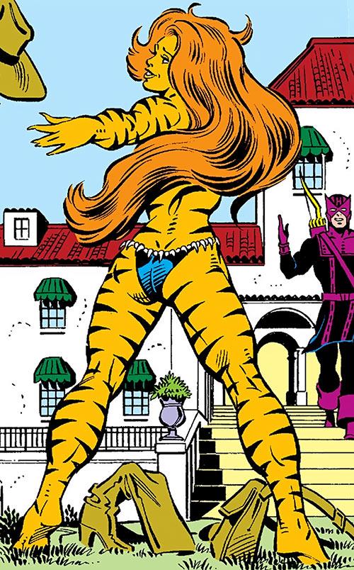 Tigra of the Avengers West Coast (Marvel Comics) shedding her clothing