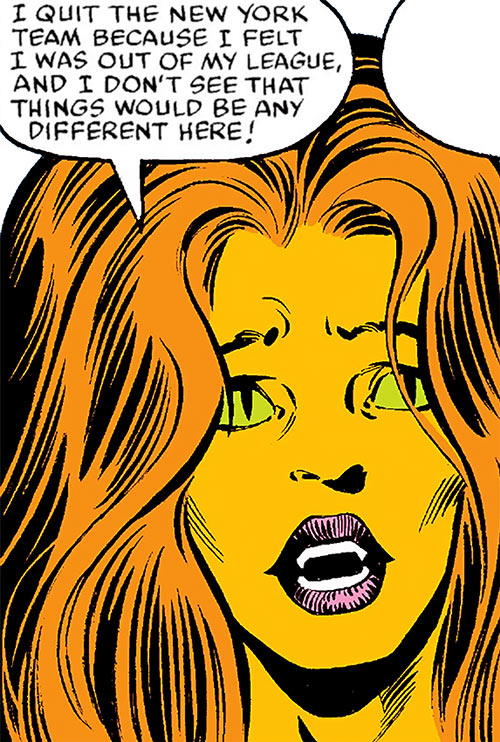 Tigra of the Avengers West Coast (Marvel Comics) looks overwhelmed