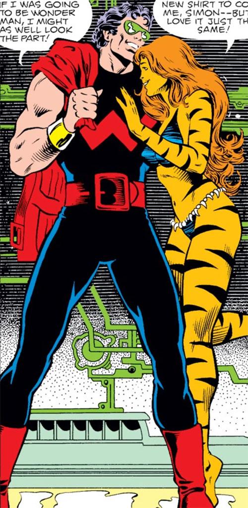 Tigra of the Avengers West Coast (Marvel Comics) with Wonder Man