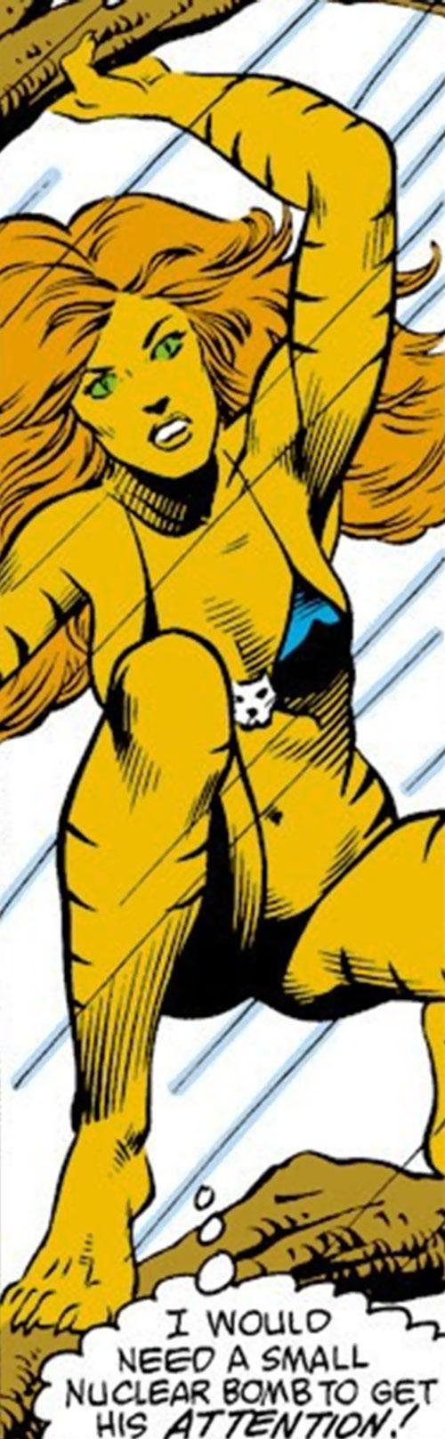 Tigra of the Avengers West Coast (Marvel Comics) on a tree amidst high winds