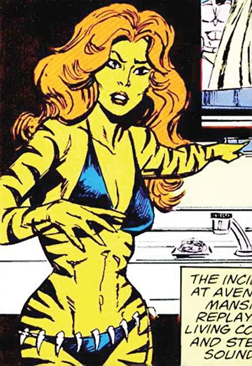 Tigra of the Avengers West Coast (Marvel Comics) near a sink
