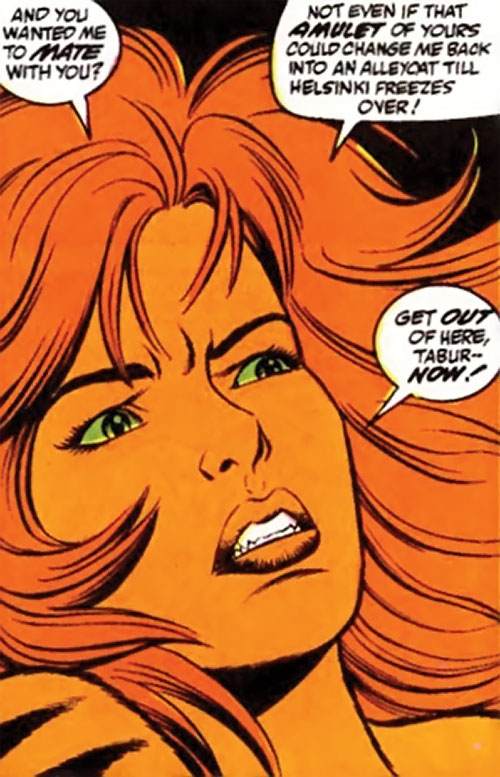 Tigra of the Avengers West Coast (Marvel Comics) disgusted face closeup