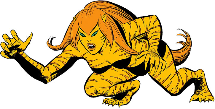 Tigra (Greer Nelson) in a low crouch, over a white background