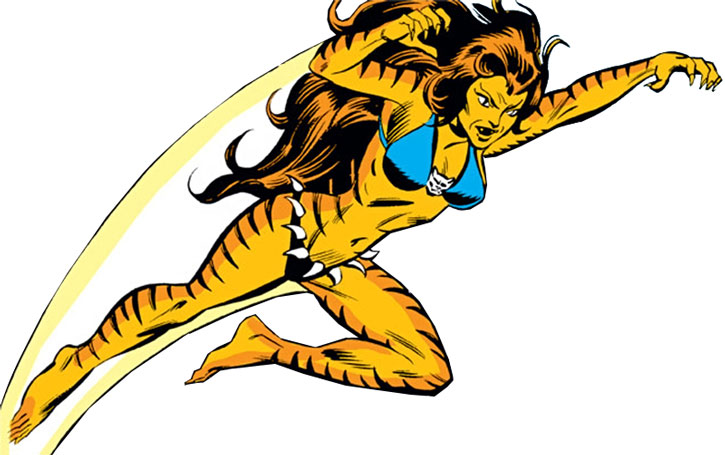 Tigra (Greer Nelson) leaping over a white background