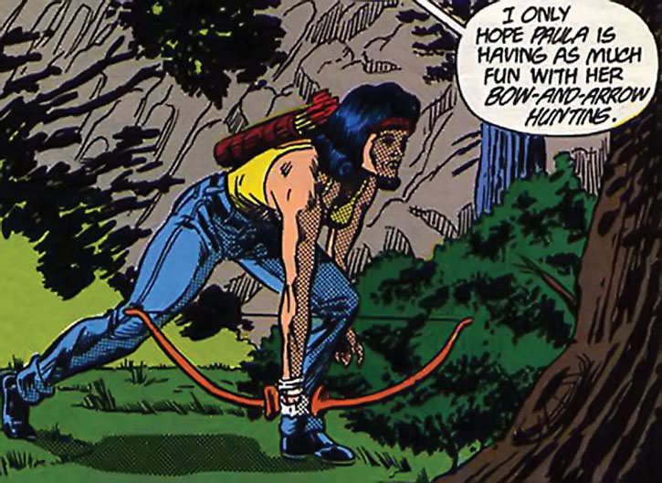 The Tigress (Paula Brooks) hunting with a small bow